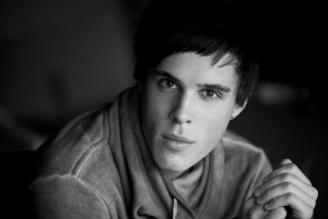 Handsome young actor in black and wite shot using natural light